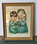Vintage Nursery Decor -Wall Hanging Picture Of Boy And Girl Praying In Frame