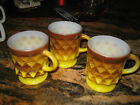 3- Vintage Anchor Hocking Fire-King YELLOW  Kimberly Diamond Mugs Cup