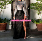 Hot Women See Through Long Sleeve O-Neck Tops High Split Sexy Skirt  Maxi Dress