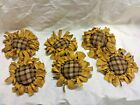 Primitive  Bowl Fillers/Ornies/Yellow Sunflowers/Brown Plaid Center/Grunged