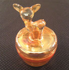 Vtg Iridescent Peach Lustre Jeanette Carnival Glass Deer Cover Powder Dish