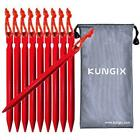 Kungix Tent Stakes Pegs 7 Aluminium Alloy with Reflective Rope 10 Piece Red