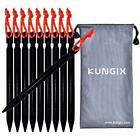 Kungix Tent Stakes Pegs 7 Aluminium Alloy with Reflective Rope 10 Piece