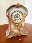 ANSONIA MANTEL CLOCK in ROYAL BONN Ceramic Case  Beautiful