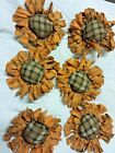 Primitive  Bowl Fillers/Ornies/Orange Sunflowers/Brown Plaid Center/Grunged