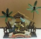 Folksy painted wood Nativity Scene Musical and Movement