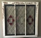 Large Antique Leaded Stained Glass Window