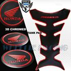 BLACK+CHROMED RED PRO GRIP FUEL TANK PAD+2