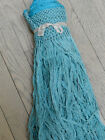 Antique Pure Silk Piano Shawl Fringe TURQUOISE BLUE - 16.33 Continuous Feet