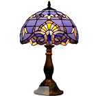 Tiffany Style Victorian Home Desk And Table Lamp with Stained purple Glass Shade