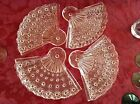 ANCHOR HOCKING Daisy and Button Fan Plates Vintage set of 4, clear glass