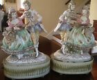 STUNNING ANTIQUE VICTORIAN PORCELAIN PAIR OF LAMPS WITH GOLD TRIM