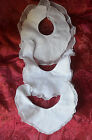 3 antique French embroidered and lace edged pure fine cotton christening bibs