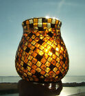 Vintage stained glass mosaic hurricane shade chimney globe 7 1 4 tall Candle