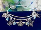 Butterfly 5 Beautiful Charms  Rainbow Beads Silver Expandable Bangle Bracelet