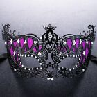 Filigree Metal Purple Laser Cut Crystal Venetian Masquerade Ball Party Mask