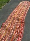 Vintage Antique Primitive Hand Braided  Runner Wool Rug LONG  pick up or ship