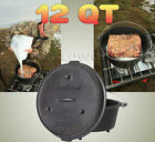 Cast Iron Dutch Oven Camping Cooking Outdoor Cookware Stove Skillet 12 Quart