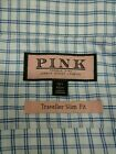Mens THOMAS PINK blue plaid xress shirt sz 16 1/2 42 CM