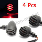 4 X RED LENS MOTORCYCLE BLACK GRILL TURN SIGNAL BRAKE STOP RUNNING TAIL LIGHTS