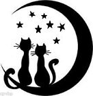 Cats  Moon Decal Sticker for 8 Glass Block Shadow box