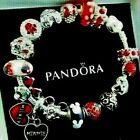 PANDORA MICKEY MINNIE MOUSE DISNEY CHARM BRACELET POLKA DOT GLASS RED BEADS BOX