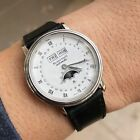 Polished BLANCPAIN Villeret Day Date Moon Phase Steel Watch 34mm 6553 1127 A 10