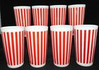 8 HAZEL ATLAS RED AND WHITE CANDY STRIPE TUMBLERS