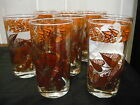 D Campbell Fall leave  Leaf Drinking 10 Glasses gold brown Orange VINTG TUMBLES