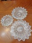 3 Piece Vintage Clear Pressed Federal Glass Petal Pattern Candy Plate Dishs