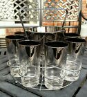 MCM Dorothy Thorpe Silver Fade Drinks Set 8 Tall Glasses Ice Bucket Chrome Caddy