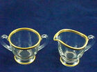 Vintage Sugar and Creamer Clear Glass with Gold Trim