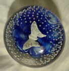 Rare JOE ST CLAIR Paperweight BUTTERFLY Sulphide BLUE WHITE SWIRL Round