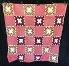 CS- Antique 19th c Roman Cross Paisley red Calico Cotton Fabric String Quilt