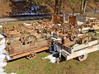 ANTIQUE INDUSTRIAL RAILROAD FACTORY CART VTG COFFEE TABLE W/ CAST IRON WHEELS