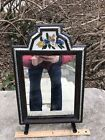 Antique Rare 18TH Cent Folk Art COURTING MIRROR Reverse Painted Original Backing