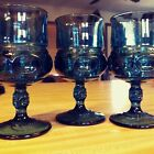3 Indiana Thumbprint Kings Crown Teal Smoke Blue Pedestal Water/Wine Goblets