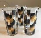 Vintage High Ball Glasses Mid Century Atomic Starburst Black and Gold Set of 3
