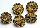 5 Small Antique Brass ButtonS WOVEN SILK BACK Tiny Flowers UNIQUE!  1/2