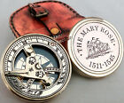 Vintage Maritime Brass Sundial Compass~Mary Rose Poem Compass With Leather Case