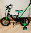 Boys 12 Hero Kids Toddler Green Black Bike with stabilizers and handle