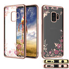 For Samsung Galaxy S9 S9 Plus + Phone Case Crystal Bling Flower Clear Cover