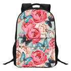 "Butterfly & Flowers Print 17"" Lpatop Backpack Women Large Excursion Knapsack"
