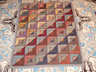 ANTIQUE AMERICAN GEOMETRIC HOOKED RUG CIRCA 1900