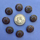 "⭐️8) 5/8"" Antique Victorian Riveted Cut Steel Buttons Knitting Sewing Craft RARE"
