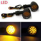 4x Black Universal Motorcycle LED Rear Turn Signal Brake Stop Safe Lights Glitzy