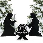 3 Pc Outdoor Nativity Scene Silhouette Christmas Set Lawn Decoration Holy Family