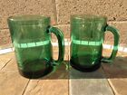 Set of 2 Vintage Emerald Green Glasses Old Cups Gold Trim Rim Mugs w/ Handle L63
