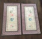 Chinese Silk Stitch Embroidery Butterflies Blue/Pink Flowers Set 2