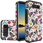 Colorful Butterfly Flower Rubberized Hybrid Cover Case For Samsung Galaxy Note 8